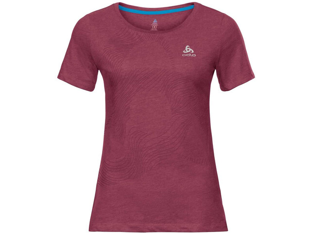 Odlo Core Bl Koszulka z krótkim rękawem Kobiety, rumba red/placed print FW18